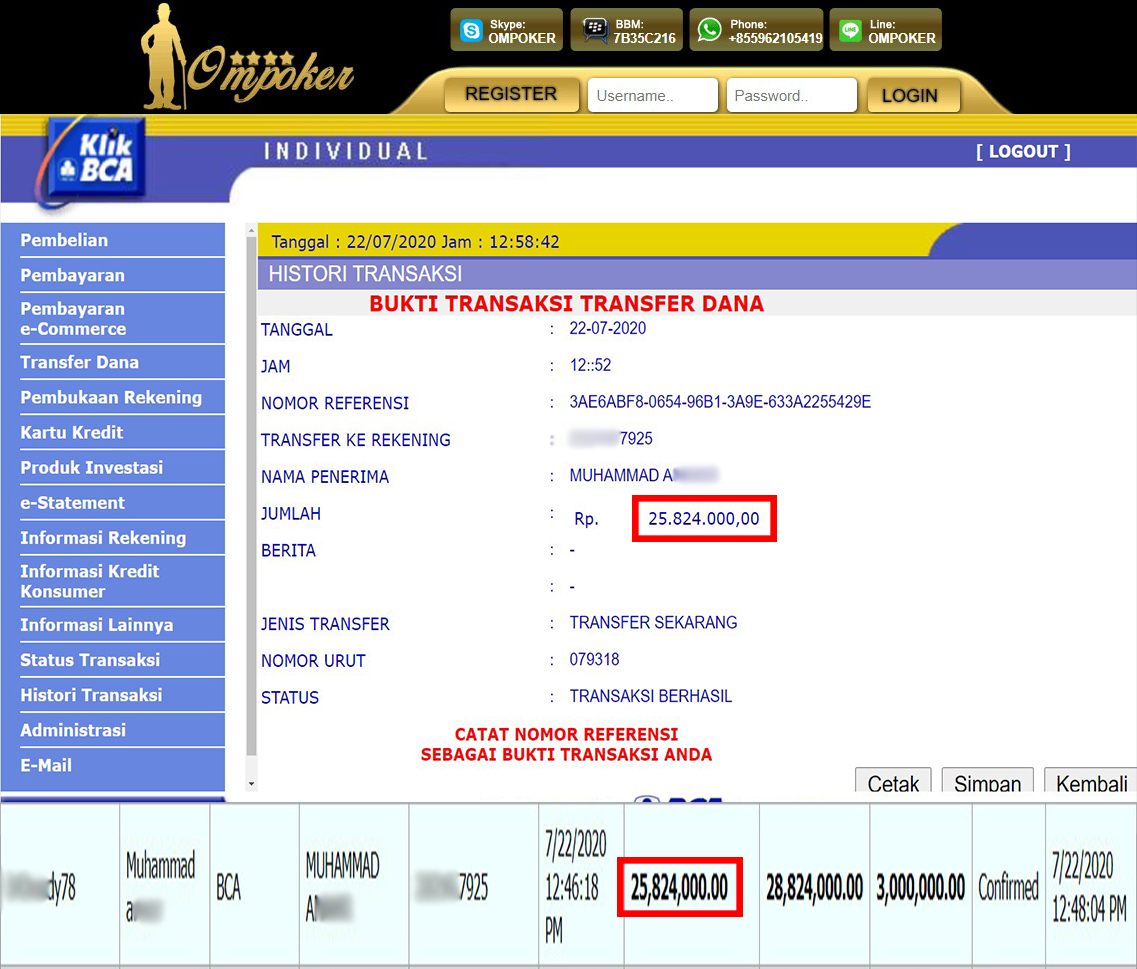 Selamat Kepada Member Setia Ompoker WD Rp 25.824.000,-