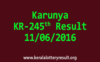 Karunya Lottery KR 245 Results 11-6-2016