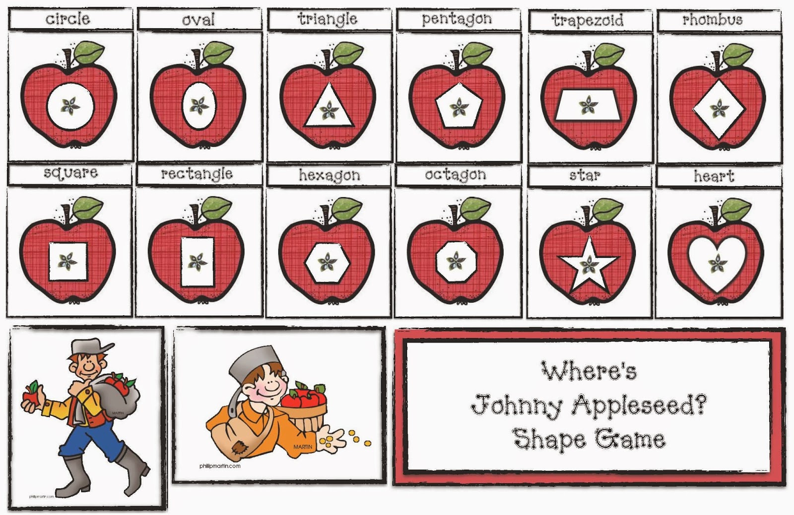 Classroom Freebies Where Is Johnny Appleseed A Shape Game
