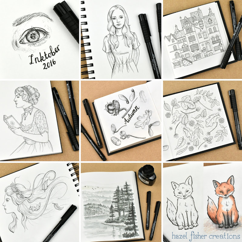 Inktober 2016 drawing challenge. My sketchbook pages - days 1 to 9 by Hazel Fisher Creations