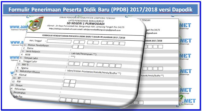 Formulir Penerimaan Peserta Didik Baru Ppdb 2018 2019 Versi
