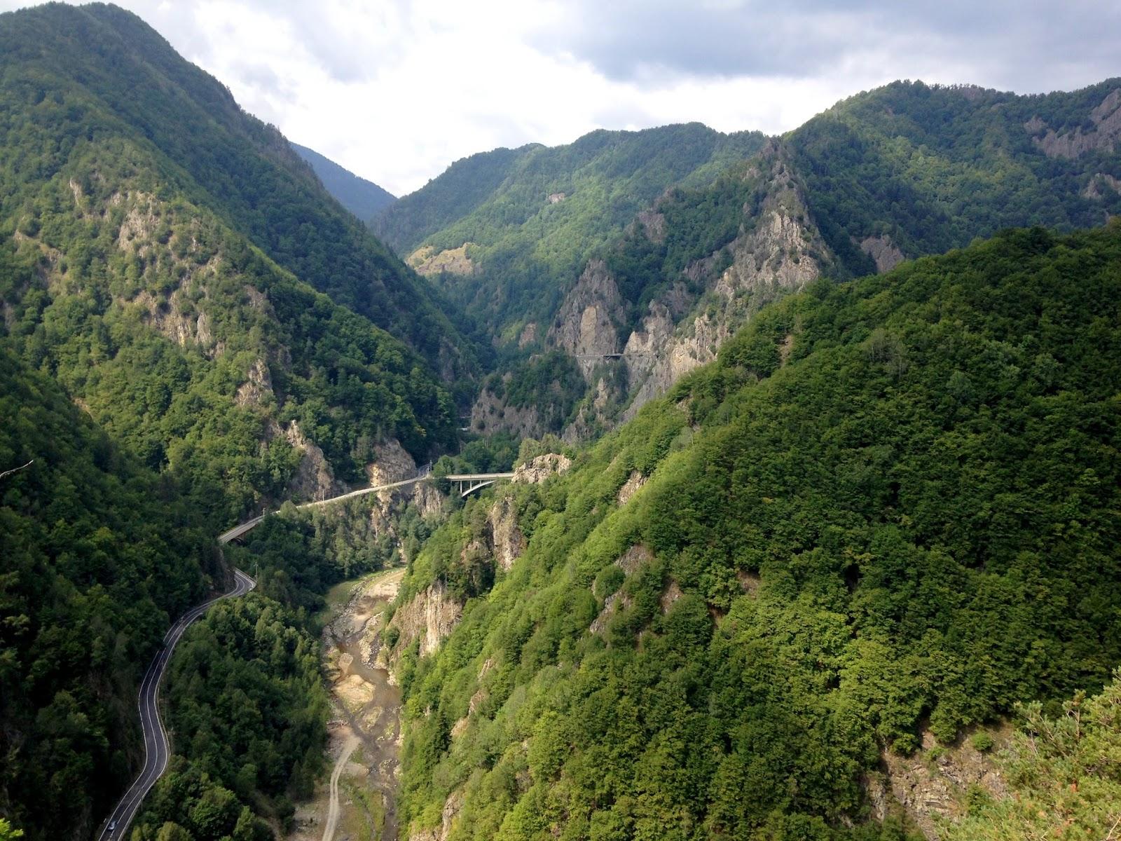 Widok na drogę Transfogaraską z zamku Poienari
