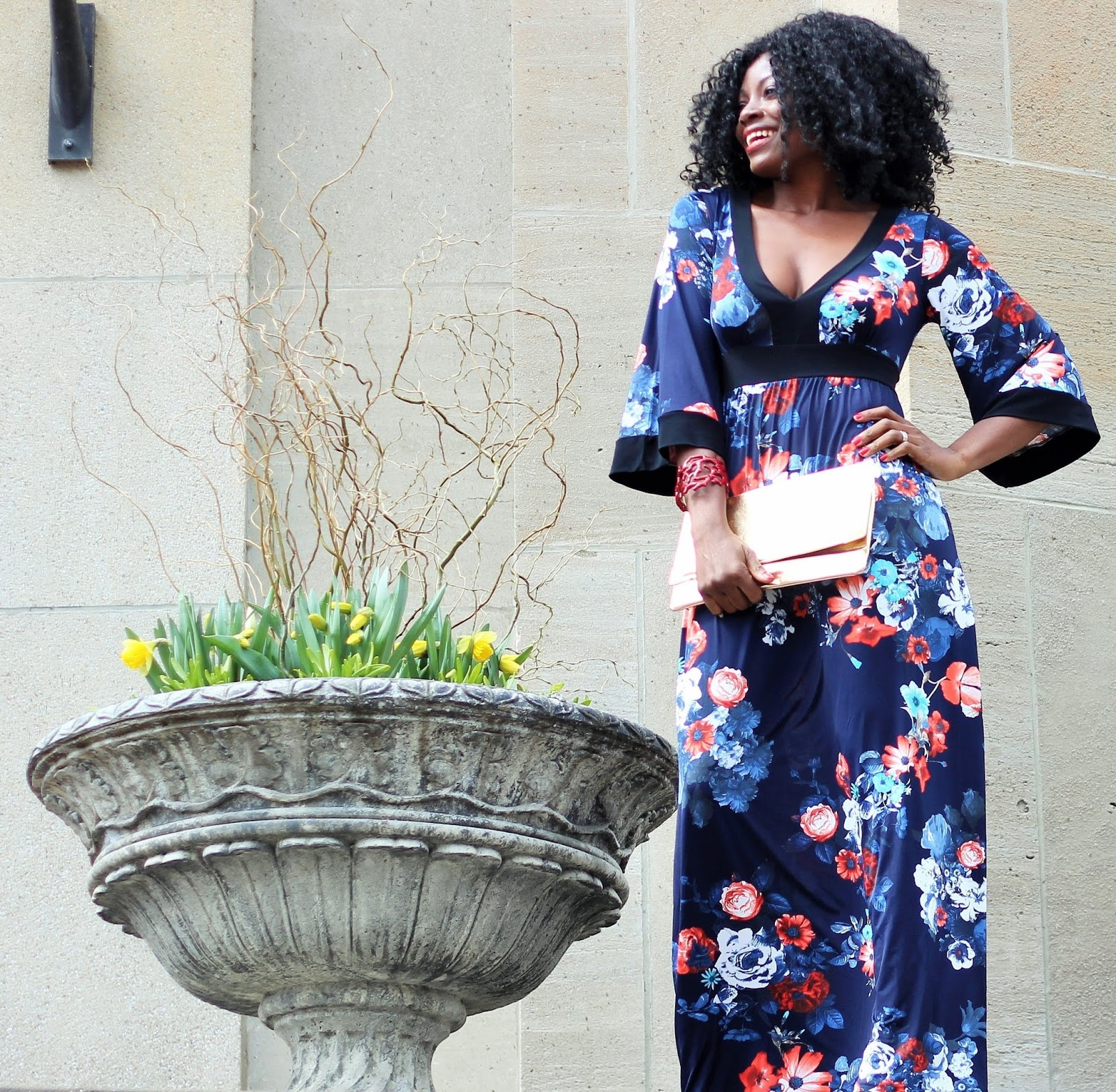 1970s Style Floral Print Three-Quarter Bell Sleeve Maxi Dress: Unique Vintage