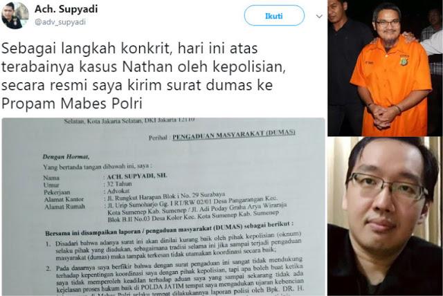 Kasus Jonru Cepat Kasus Nathan Mandek, Pengacara Lapor Propam