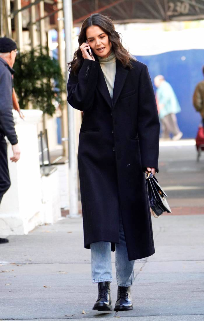 Katie Holmes Fall Style — Navy Coat, Grey Turtleneck, Jeans, and Combat Boots