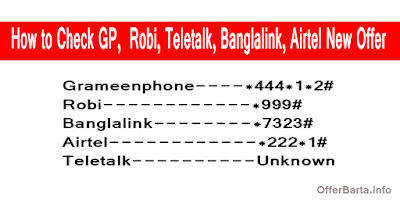 How to Check GP,  Robi, Teletalk, Banglalink, Airtel New Offer