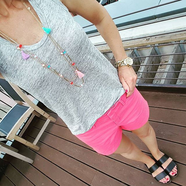 J. Crew Linen Tank Top // Old Navy Pixie Chino Shorts - on sale for $15 with code TREAT (ends 5/2) // Kancun Cut Off Shorts (similar - 63% off!) // Michael Kors Runway Twist Watch // Target Tassel Necklace