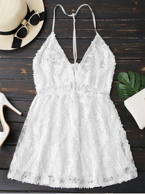 Sequins Lace Cami dress zaful