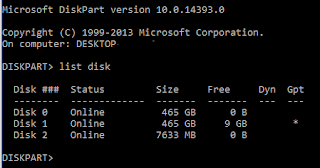 Diskpart list disk screenshot