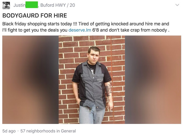 Bodyguard for hire Black Friday Shopping.  Hilarious Post marchmatron.com