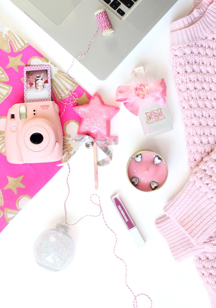 pink festive christmas flatlay