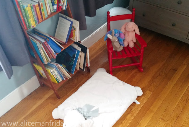 library, book shelf, child's room, baby's first bedroom, nursery, baby boy, book storage, red rocking chair