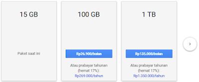Harga paket google drive, kelola paket