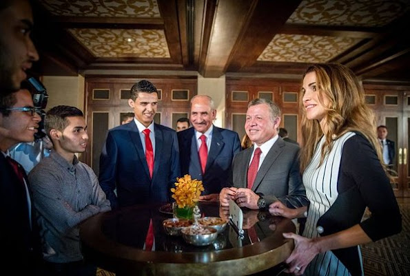 King Abdullah and Queen Rania met with Jordan's Olympics team