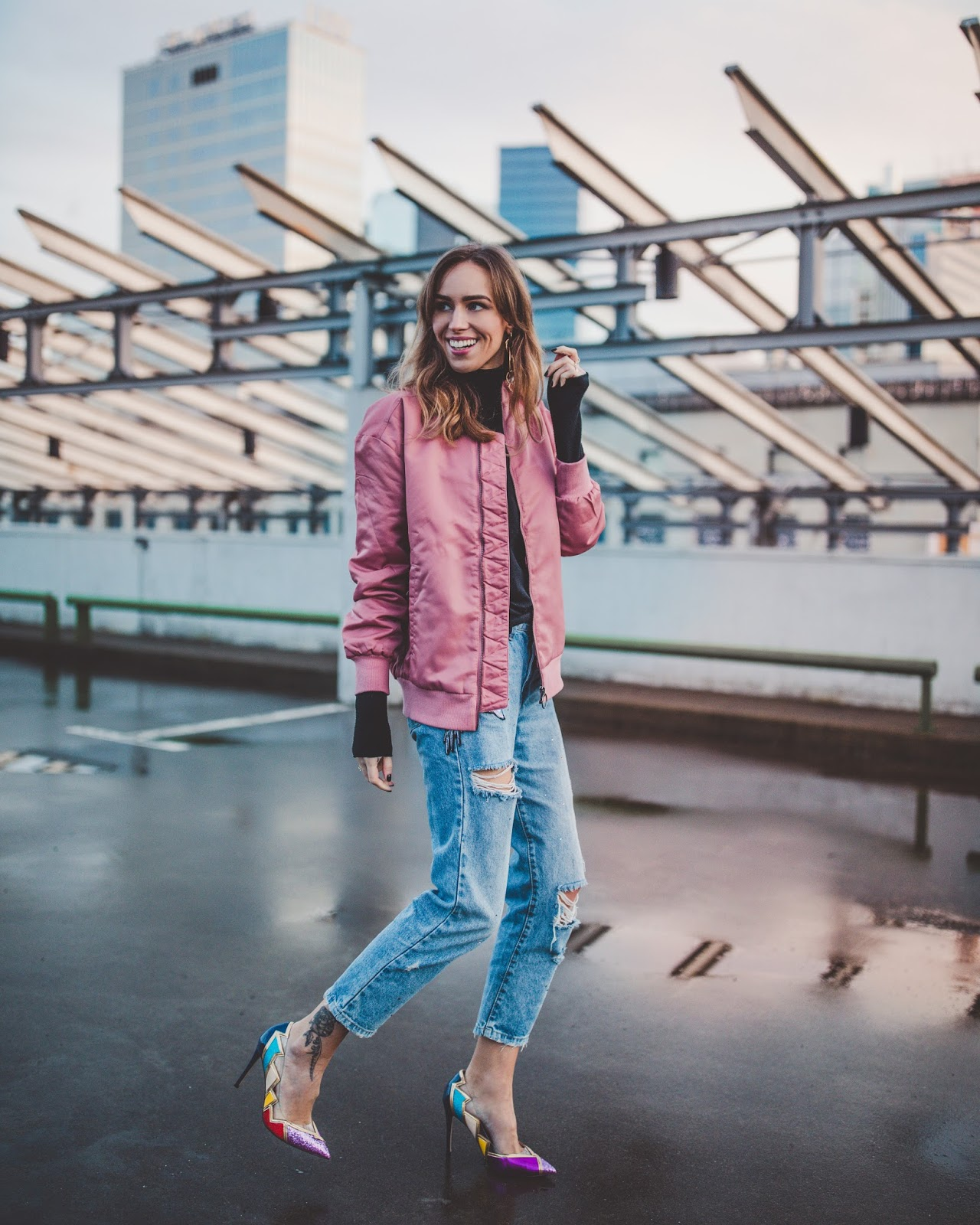 pink bomber jacket spring street style