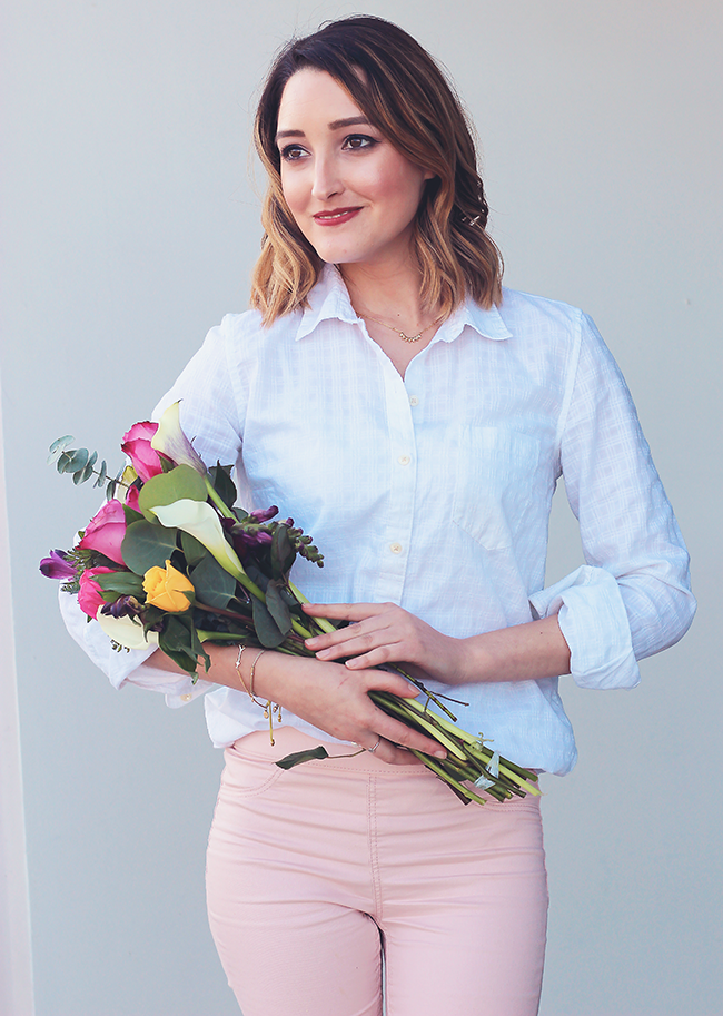 Valentine's Day Outfit: White Blouse + Pink Skinny Pants