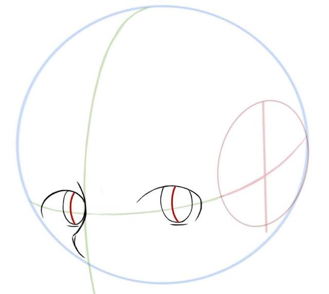 Dessiner des yeux manga de côté: définir l'axe du regard