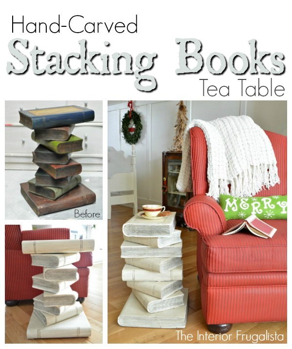 Hand Carved Stacking Books Table Before and After