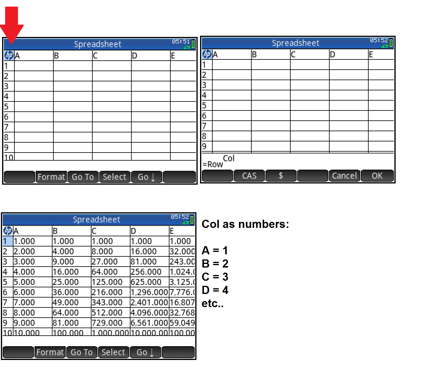 Eds Math And Calculator Blog Hp Prime Spreadsheet App Tutorial 6 Row And Column References