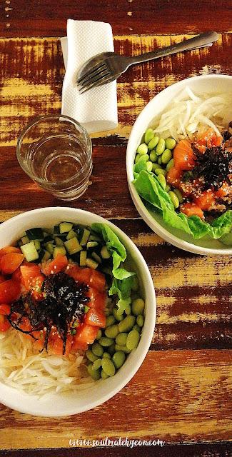 Salmon poke bowl dinner date @ In a bowl, Biru Biru Cafe