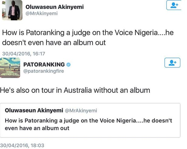 Epic Clapback: Patoranking Slams Twitter User Who Thinks He Shouldn't Be A Judge