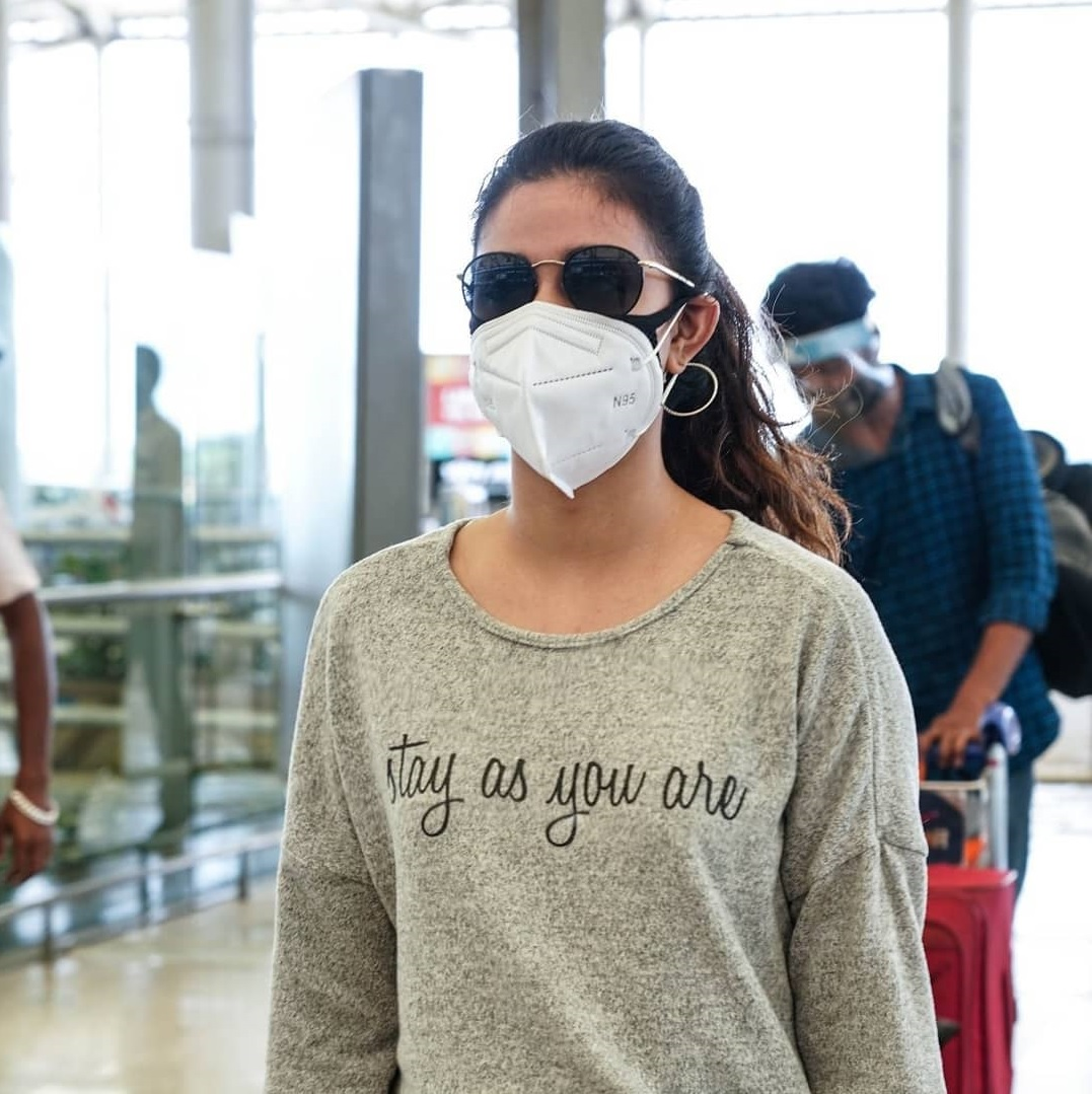 Keerthy Suresh in the Mask with Stunning Walk Style at Hyderabad Airport 4