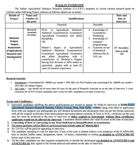 IASRI Recruitment