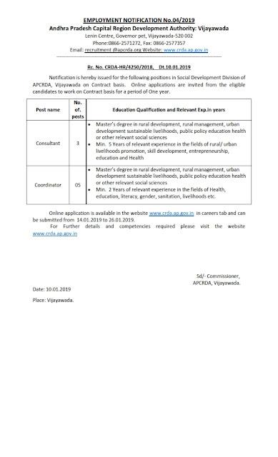 Consultant and Coordinator post in APCRDA
