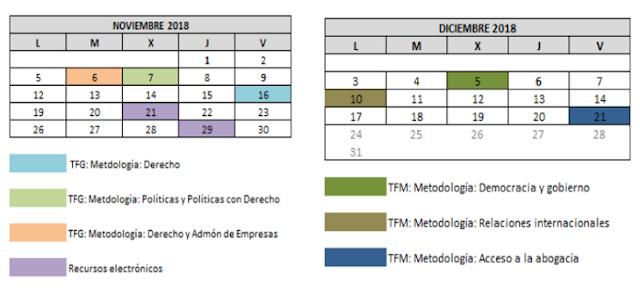 Calendario formación Biblioteca Derecho UAM nov-dic 2018
