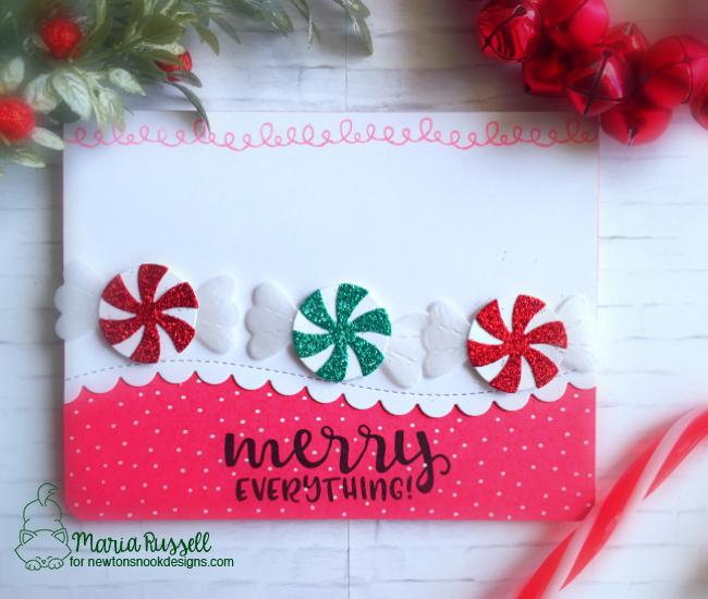 Peppermint Holiday Card by Maria Russell | Sentiments of the Season Stamp Set and Peppermint Die Set by Newton's Nook Designs #newtonsnook #handmade