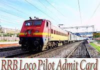 RRB Loco Pilot Admit Card 2017