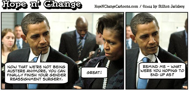 obama, obama jokes, cartoon, humor, funny, political, stilton jarlsberg, hope n' change, hope and change, conservative, tea party, budget, debt, austerity, michelle, gender