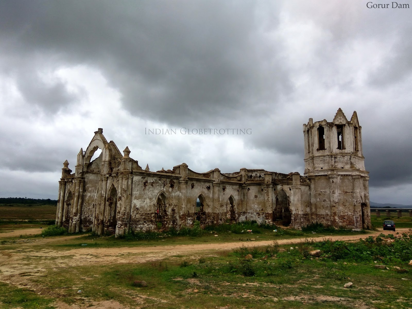 A long view of the Shettihalli church on the banks of the Hemavathi reservoir, Karnataka