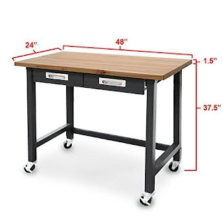 Wood Top Workbench With Wheels