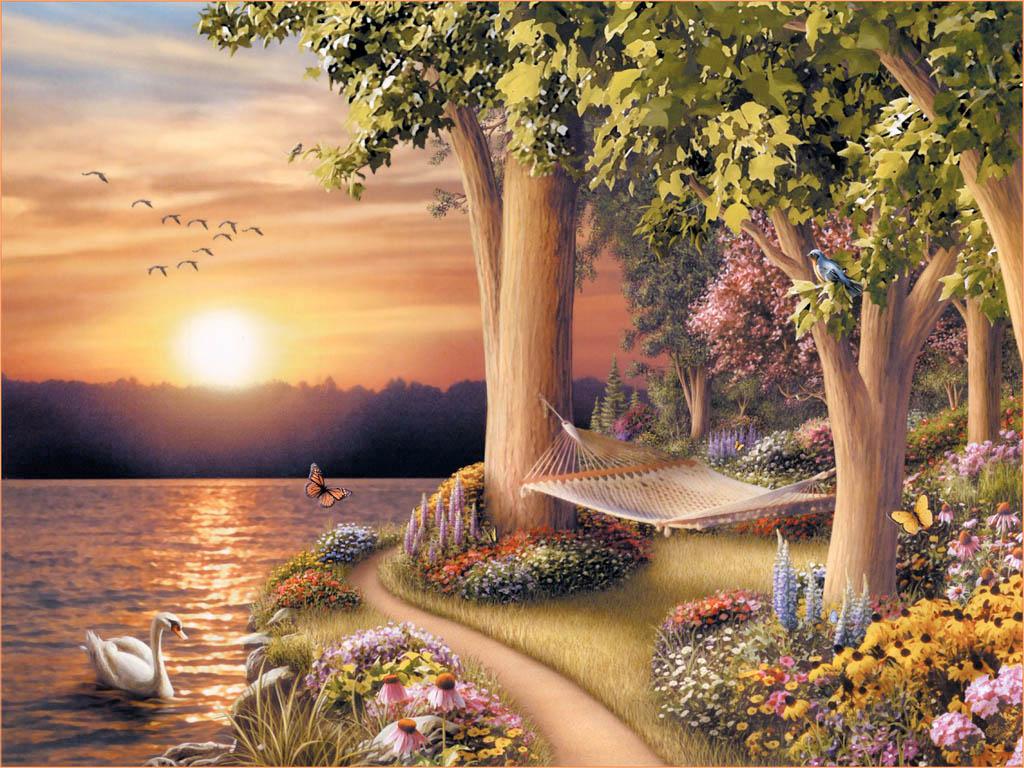 Visual Nature Oil Painting Art Wallpaper