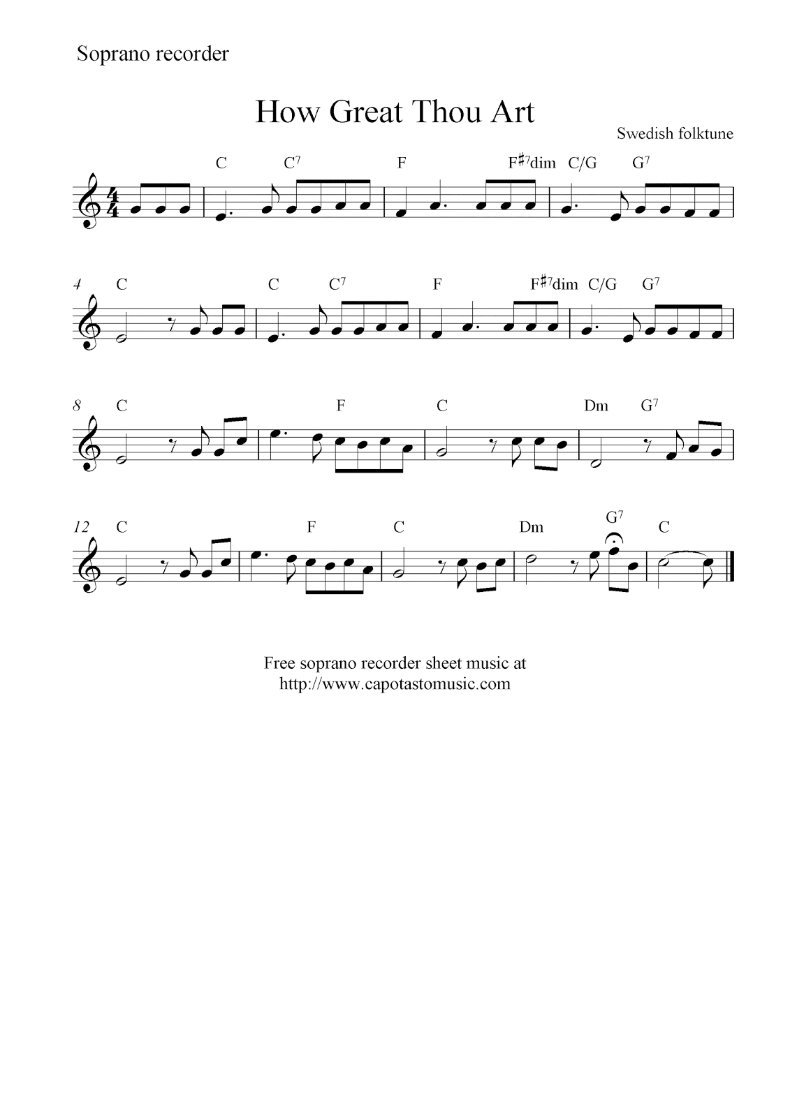 How Great Thou Art Free Soprano Recorder Sheet Music Notes