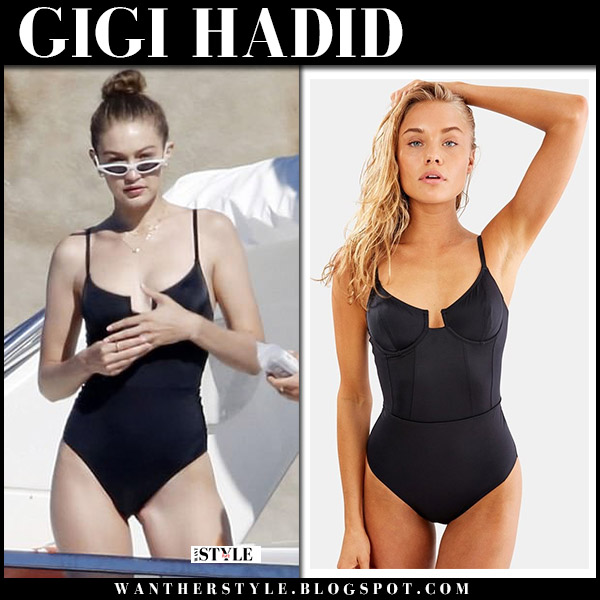 Gigi Hadid in black one piece swimsuit solid and striped on a yacht beach model style july 1