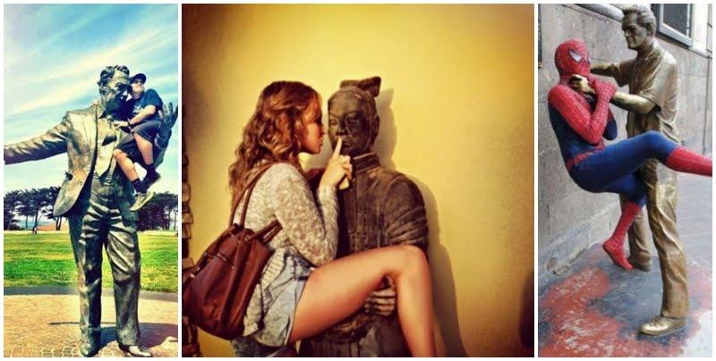 21 Personas que realmente se divirtieron tomándose fotos con estas estatuas