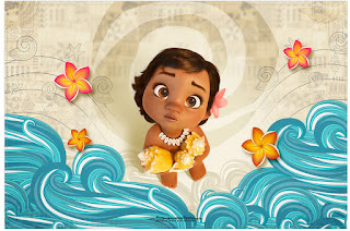 Moana Baby Free Printable Invitations, Labels or Cards.