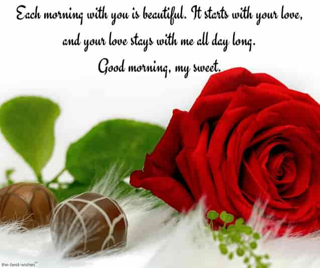 good morning messages for my love with red rose