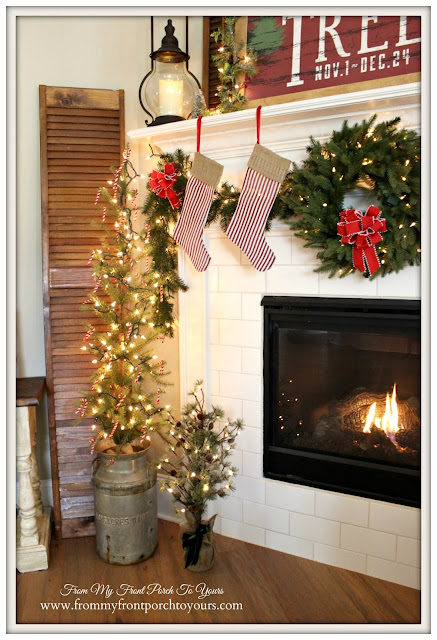 Farmhouse Christmas Mantel-Christmas Tree-Milk Can-Christmas Wreath- From My Front Porch To Yours
