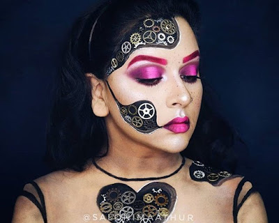 steampunk makeup how to DIY glue gears to your face and body robot automaton