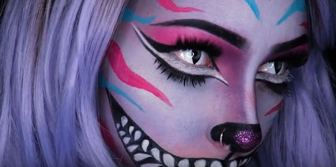Espectacular tutorial de maquillaje del gato de Cheshire en Alicia en el pais de las maravillas