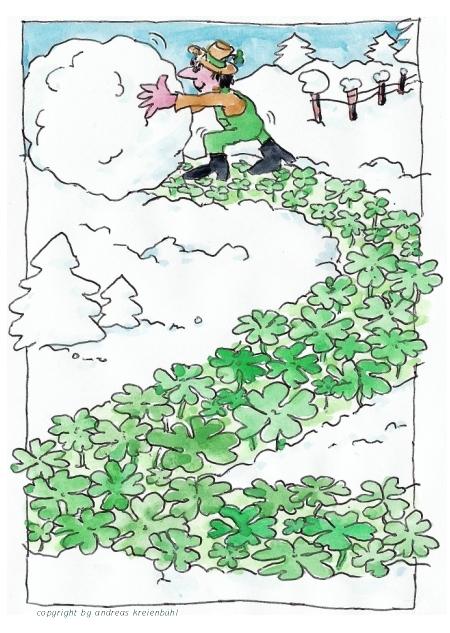 Neujahrs-Cartoon mit Gärtner der einen Schneemann macht