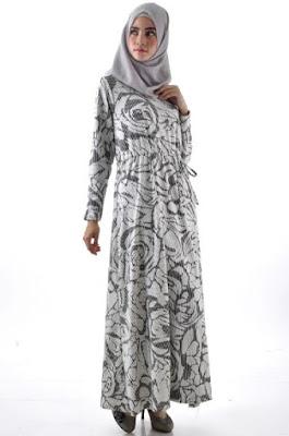 Baju gamis batik kerja sederhana untuk wanita muda