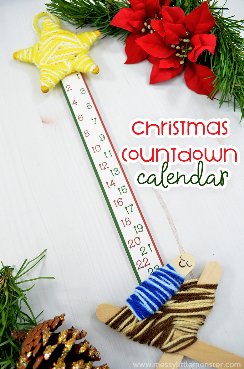 Make your own Christmas countdown calendar. Countdown to Christmas with this baby Jesus in a manger nativity craft.  Fun Christmas crafts for kids