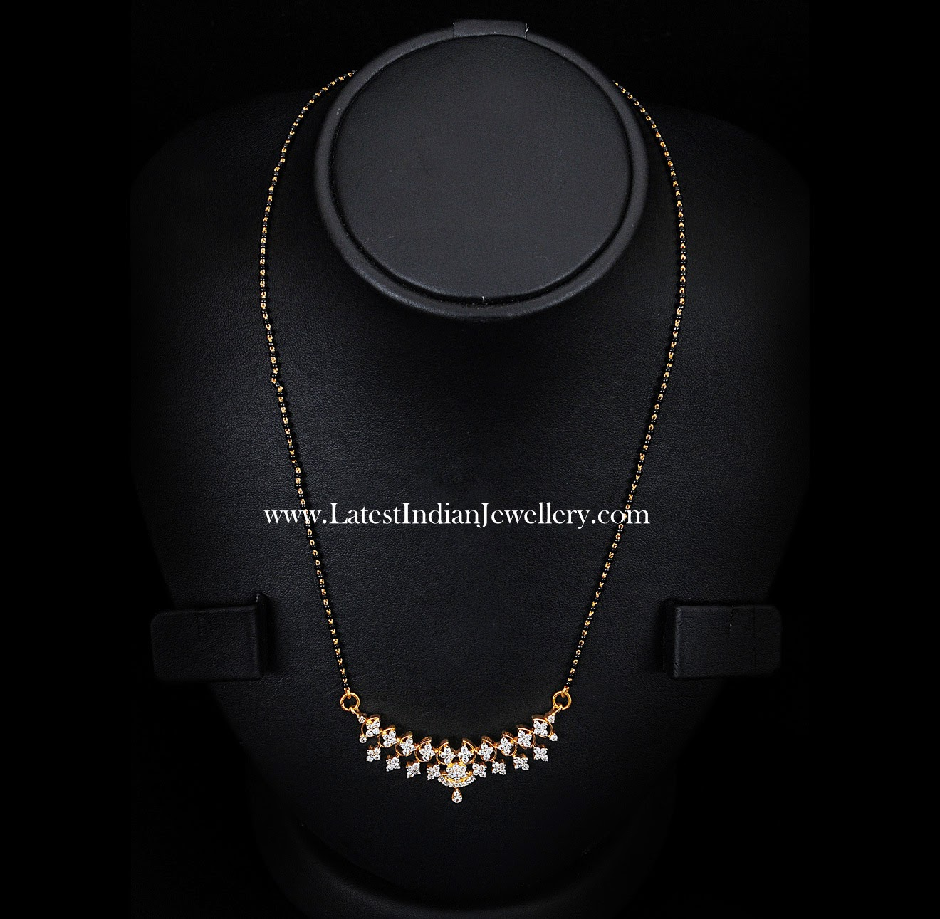 black beads diamond pendant