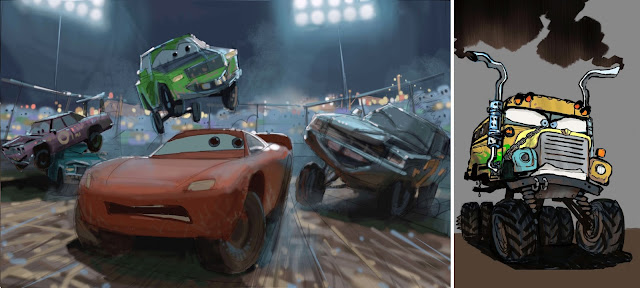 Cars 3 crazy 8 concept art and Miss Fritter concept art
