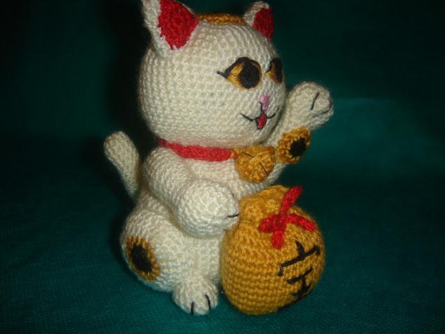 gato, suerte, chino, maneki-neko, papel, amigurimi,