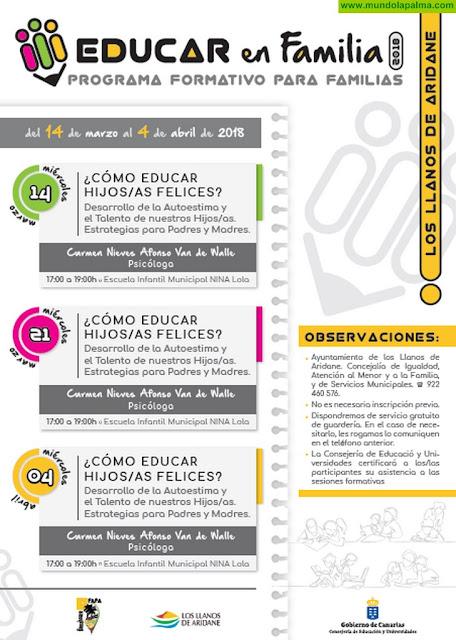 El Ayuntamiento de Los Llanos imparte tres talleres sobre cómo educar niños felices